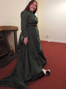 woman in long green dress
